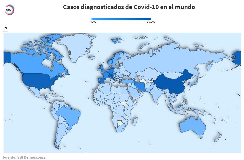 Mapa web interactivo de casos de coronavirus en el mundo